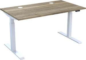 Electric height adjustable standing desk with natural Halifax oak top and white frame