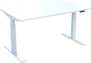 Electric height adjustable standing desk with white top and white frame