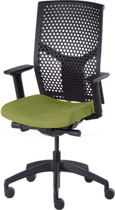 J2 Desk chair, mesh black back and green seat
