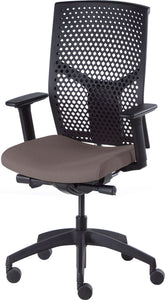 J2 Desk chair, mesh black back and brown seat