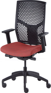 J2 Desk chair, mesh black back and red seat
