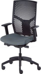 J2 Desk chair, mesh black back and blue seat