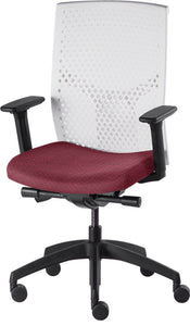 J2 Desk chair, mesh white back and mauve seat