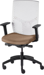 J2 Desk chair, mesh white back and oatmeal seat