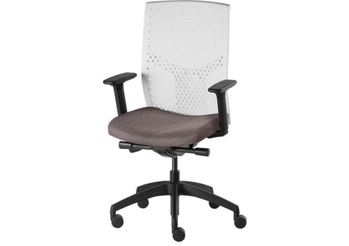 work chair with white back, grey upholstery and black base