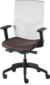 J2 Desk chair, mesh white back and brown seat