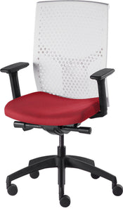 J2 Desk chair, mesh white back and red seat