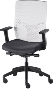J2 Desk chair, mesh white back and charcoal seat