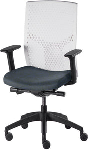 J2 Desk chair, mesh white back and blue seat