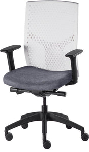J2 Desk chair, mesh white back and grey seat