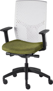 J2 Desk chair, mesh white back and green seat