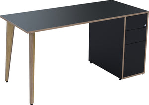 Black desk with drawers and oak legs