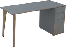 Load image into Gallery viewer, Dust grey desk with drawers and oak legs