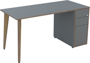 Dust grey desk with drawers and oak legs