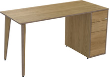 Load image into Gallery viewer, light oak veneer desk with drawers