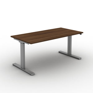 Move! Electric Height Adjustable Desk, Silver Frame, Walnut Top