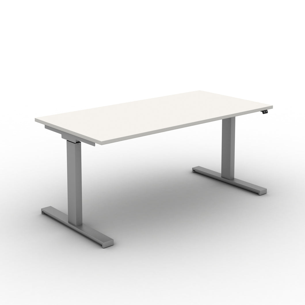Move! Electric Height Adjustable Desk, Silver Frame, White Top