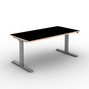 Move! Electric Height Adjustable Desk, Silver Frame, Jet Black Top with Multiplex Edge