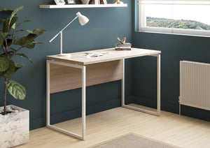 Milton desk, white frame, desk lamp, shelves in home work space
