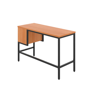 Beech haynes desk with black frame, and 2 drawers, back angle view
