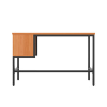 Load image into Gallery viewer, Beech haynes desk with black frame, and 2 drawers, back view