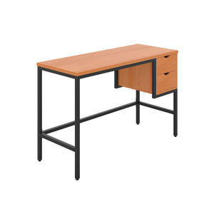 Beech haynes desk with black frame, and 2 drawers, front angle view