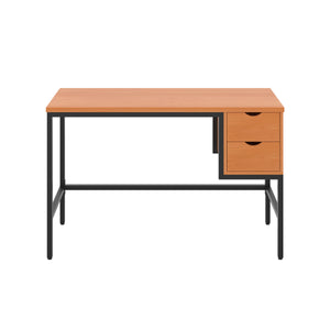 Beech haynes desk with black frame, and 2 drawers, front view