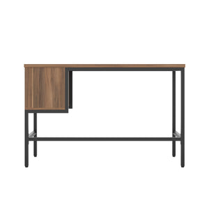 Dark Walnut haynes desk with black frame, and 2 drawers, back view