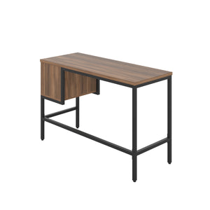 Dark Walnut haynes desk with black frame, and 2 drawers, back angle view