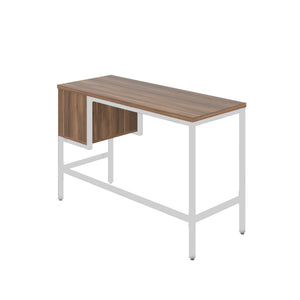 Dark Walnut haynes desk with white frame, and 2 drawers, back angle view