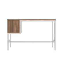 Load image into Gallery viewer, Dark Walnut haynes desk with white frame, and 2 drawers, back view