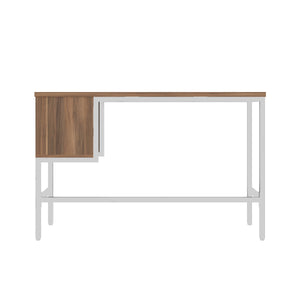Dark Walnut haynes desk with white frame, and 2 drawers, back view