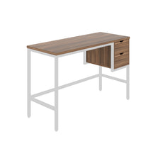 Load image into Gallery viewer, Dark Walnut haynes desk with white frame, and 2 drawers, front angle view
