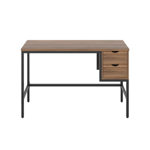 Dark Walnut haynes desk with black frame, and 2 drawers, front view