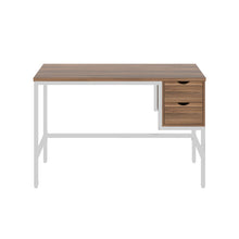 Load image into Gallery viewer, Dark Walnut haynes desk with white frame, and 2 drawers, front view