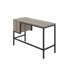 Load image into Gallery viewer, Grey Oak haynes desk with black frame, and 2 drawers, back angle view