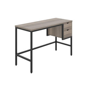 Grey Oak haynes desk with black frame, and 2 drawers, front angle view
