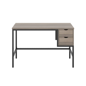 Grey Oak haynes desk with black frame, and 2 drawers, front view