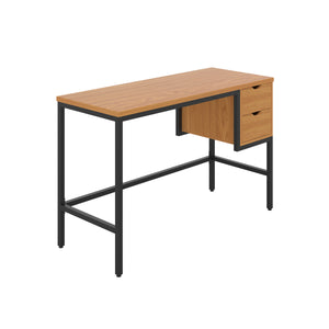 Oak haynes desk with black frame, and 2 drawers, front angle view