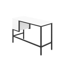 Load image into Gallery viewer, White haynes desk with black frame, and 2 drawers, back angle view