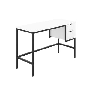 White haynes desk with black frame, and 2 drawers, front angle view