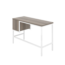 Load image into Gallery viewer, Grey Oak haynes desk with white frame, and 2 drawers, back angle view