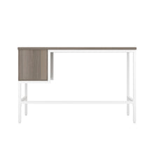 Load image into Gallery viewer, Grey Oak haynes desk with white frame, and 2 drawers, back view