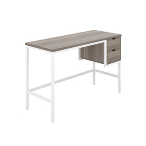 Grey Oak haynes desk with white frame, and 2 drawers, front angle view