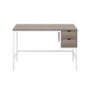 Grey Oak haynes desk with white frame, and 2 drawers, front view