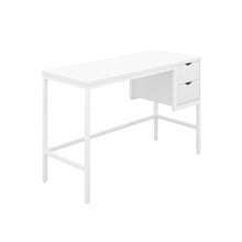 Load image into Gallery viewer, White haynes desk with white frame, and 2 drawers, front view from angle