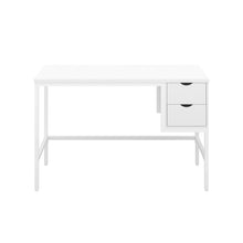Load image into Gallery viewer, White haynes desk with white frame, and 2 drawers, front view
