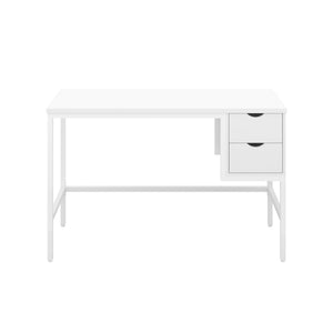 White haynes desk with white frame, and 2 drawers, front view