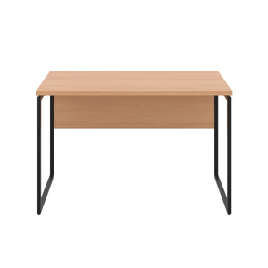 Beech Milton desk, black frame, front view