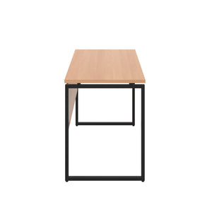 Beech Milton desk, black frame, side view